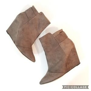ZARA Trafaluc pointed toe wedge booties
